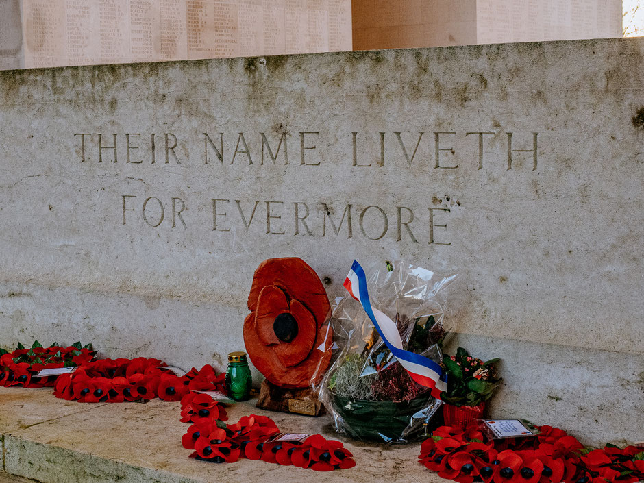 The Stone of Remembrance adorned with poppy flowers in Thiepval Memorial (WWI, Somme Battlefields)