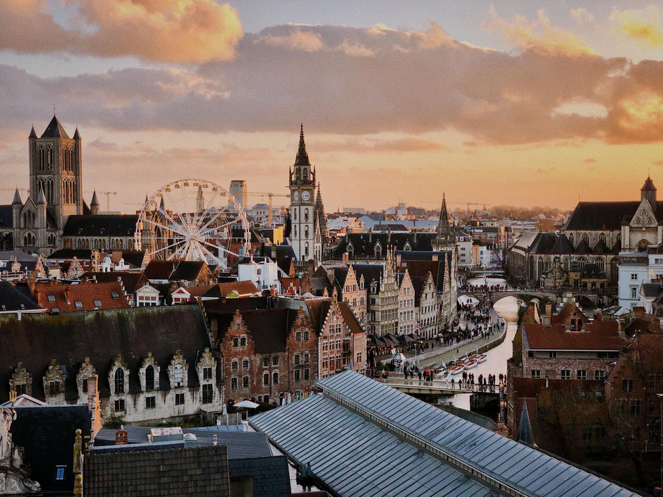 Stunning view of Ghent from the top of the castle