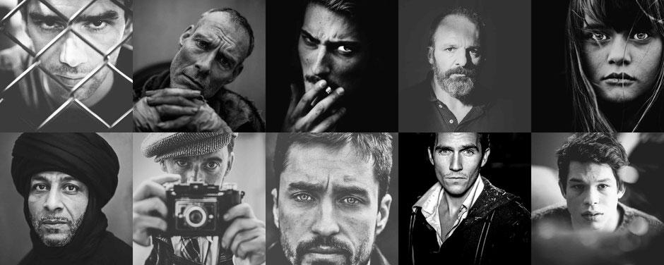 portrait d'acteur en noir et blanc