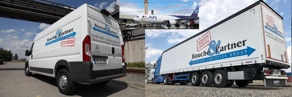 3 Bilder im Bild: Van und Sattelzug mit Auflieger der Bouché & Partner GmbH sowie Frachtflugzeug bei der Beladung am Flughafen