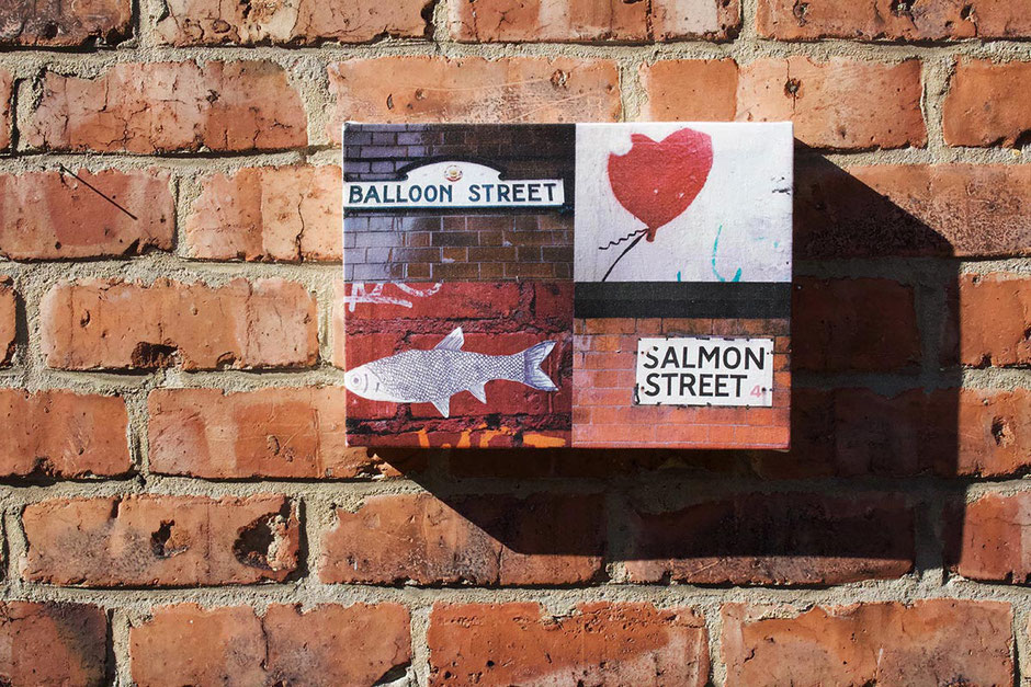 funny humourous manchester street names balloons fish salmon heart grafitti photo montage canvas art print