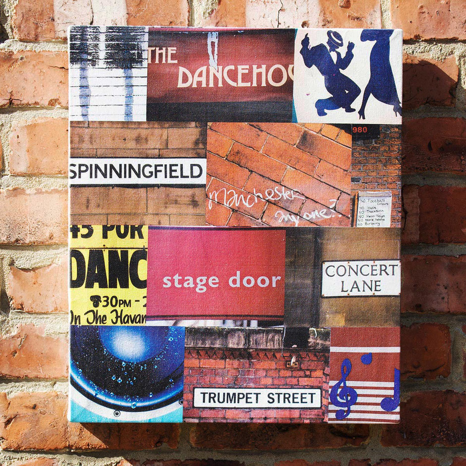 iconic manchester city music and clubbing photograph montage canvas print dancehouse trumpet street concert lane