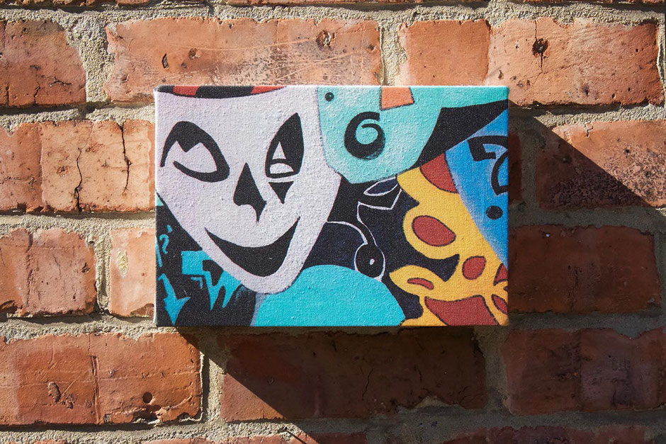 theatrical masks canvas art print gift for theatre lover drama amateur dramatics dramatical wall art decor