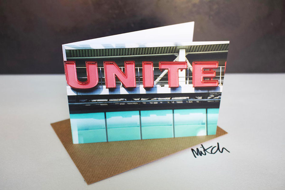 manchester unite blank inside greeting card with united old trafford sign