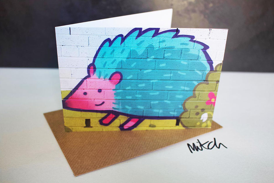 hedgehog graffiti street art blank inside greeting card birthday christmas best wishes retirement gardener garden lover