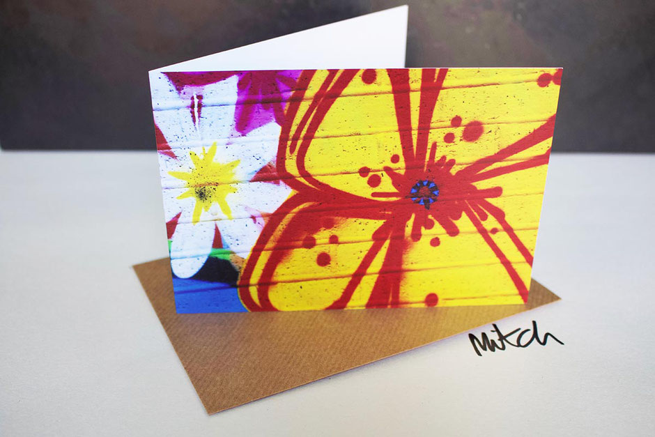 graffiti flowers floral cheerful jolly vibrant happy blank inside greeting card get well birthday best wishes garden lover