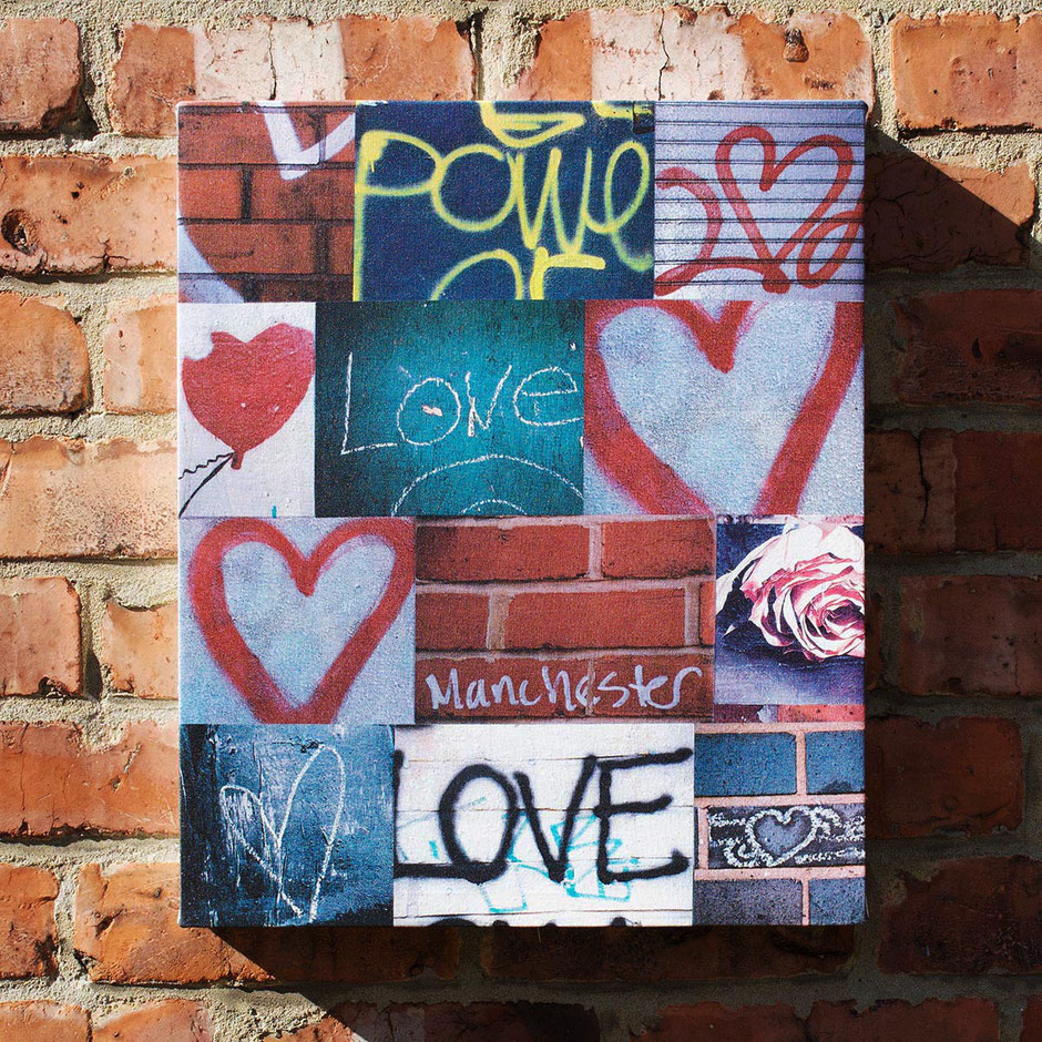 power of love manchester city street scene graffiti hearts photo montage canvas print