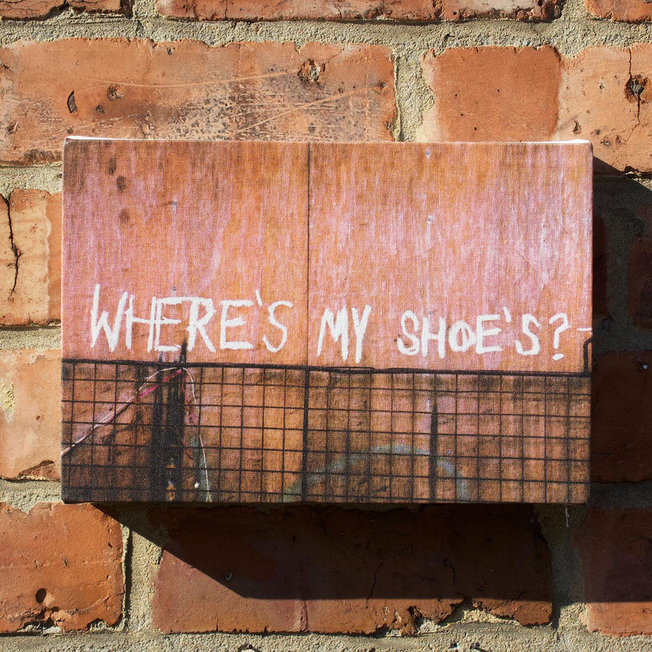 manchester city wheres my shoes graffiti funny humourous fun canvas photo print wall decor shoe lover gift