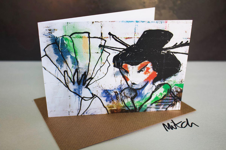 geisha girl street art graffiti greeting card any occasion birthday best wishes get well