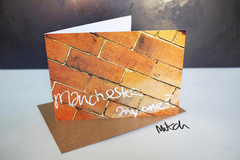 manchester red orange brick blank inside greeting card new home house move new job bon voyage best wishes