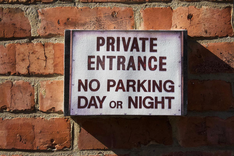 private entrance no parking day or night canvas print wall art decor humourous sign privacy space