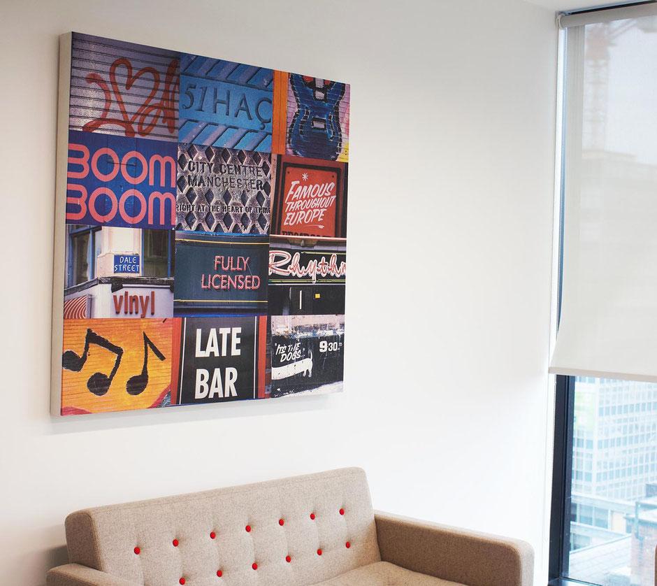 boom boom manchester music scene canvas wall art