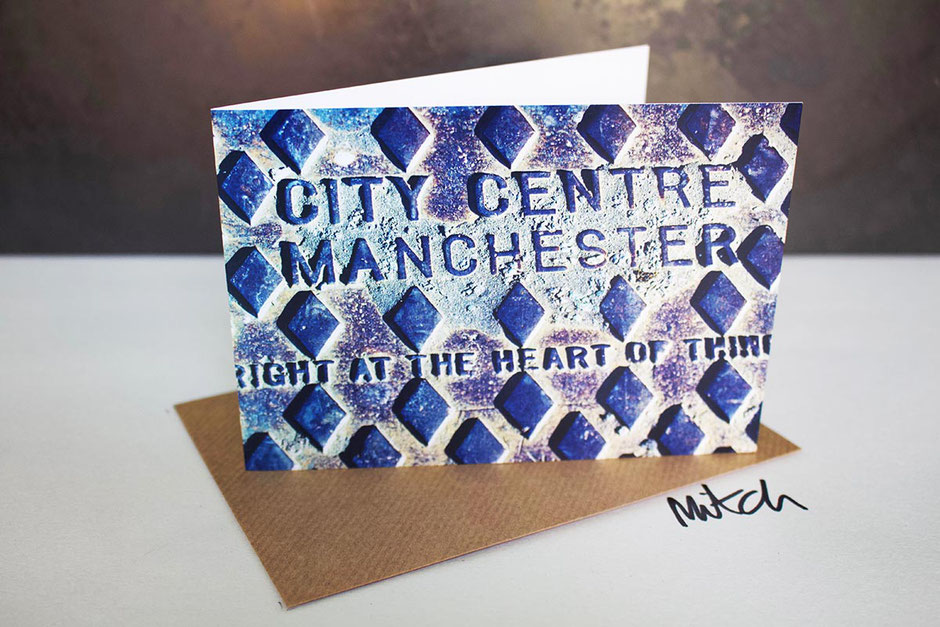 right at the heart of things blank inside greeting card mancunian draincover manchester city centre sentiment new home house job best wishes