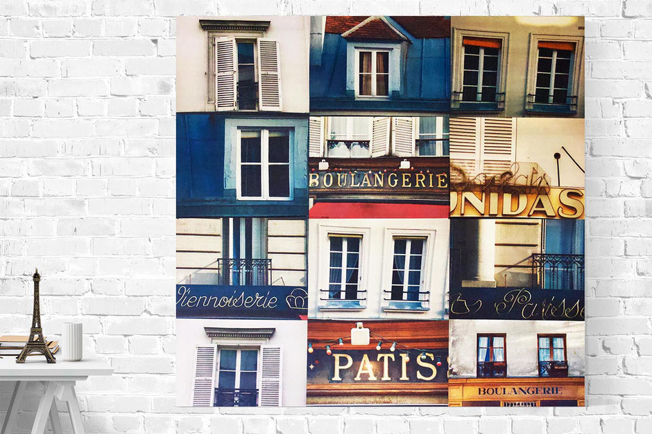 paris rooftops and cake canvas interior wall art photo montage
