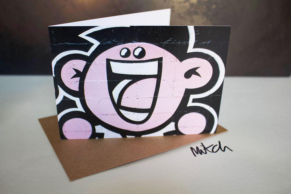 laughing lady street art blank inside greeting card any occasion best wishes birthday congratulations