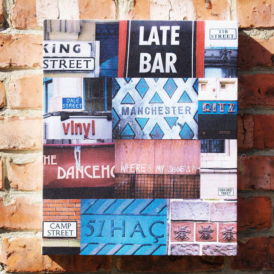 iconic manchester city late bars photograph montage canvas print the hacienda ritz palace hotel dance house camp street king tib