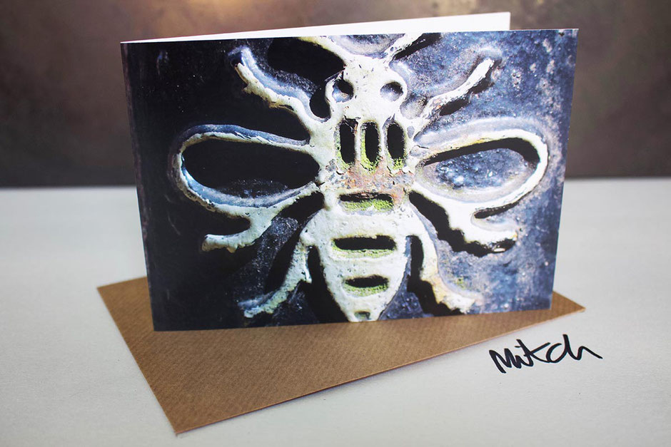 manchester bee blank inside greeting card card street bollard birthday get well best wishes student exams congratulations retirement