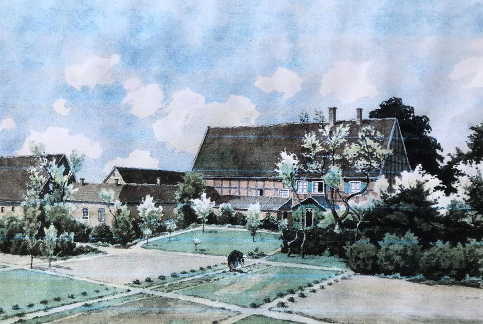 Der Hof Schulte-Bögge im Jahre 1916. Als Vorlage für die Zeichnung diente eine alte Fotografie. (Bildnachweis: Fam. Schaumann)