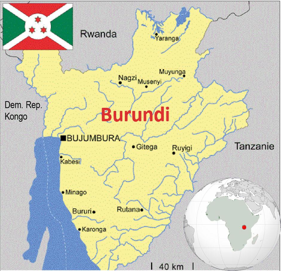 Burundi liegt in Ostafrika 200 Km des Äquators. Das Land wird von seiner Grösse und Topographie auch als Schweiz von Afrika benannt