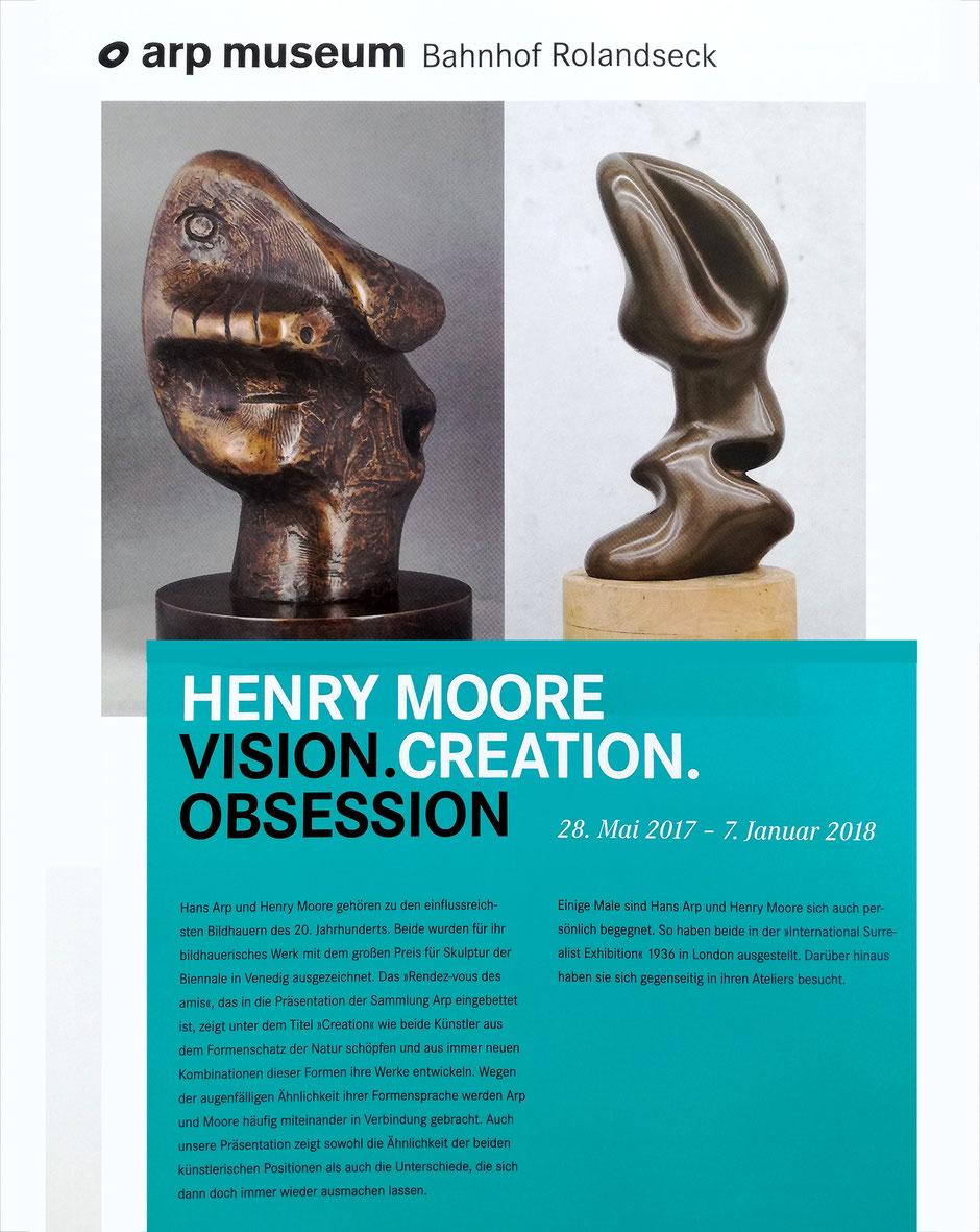 Flyer Ausstellung Henry Moore, Bahnhof Rolandseck, 28 Mai 2017 - 7. Januar 2018