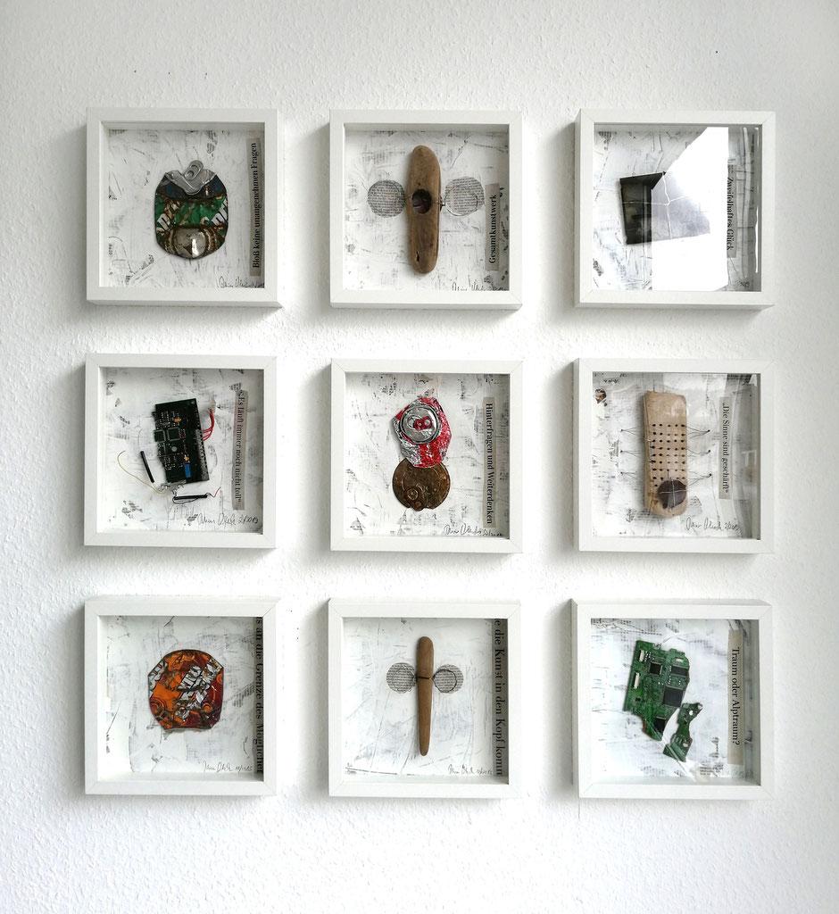 Reiner Olesch, Assemblagen, Ausstellund 2019, Galerie Camino