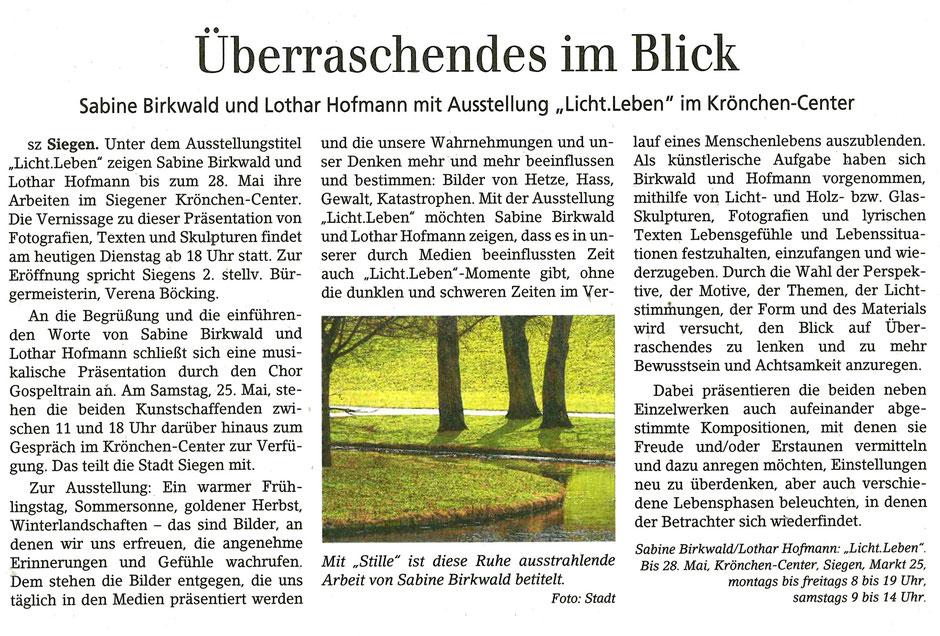 Siegener Zeitung, Kultur   7.5.2019