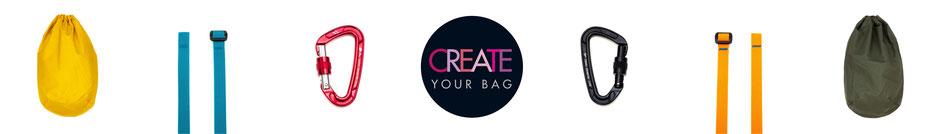 Kreiere dir deine eigene vegane Tiden Bag (Tasche / Umhängetasche / Rucksack) aus gewachster Baumwolle. Einfach die Farbe der Tasche, des Bandes und des Karabiners aussuchen.