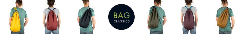 Bei uns findet ihr tolle wasserabweisende Tiden Bags (Taschen / Umhängetaschen / Rucksäcke) mit Karabiner aus gewachster Baumwolle.