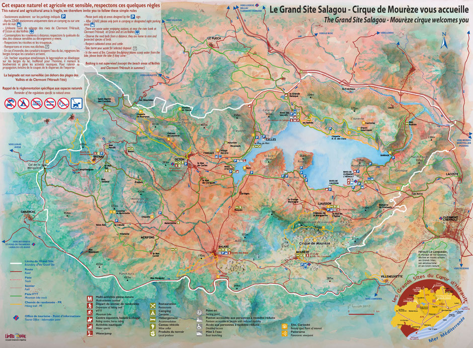 Carte plan Lac du Salagou Grand site ciruits vtt randonnée pédestre parking dépliant tourisme camping car