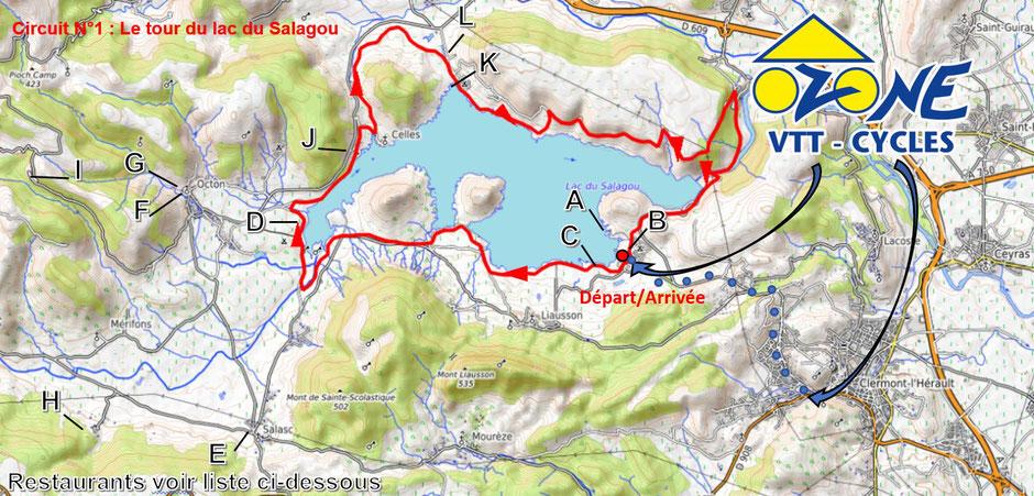 Circuit VTT au Lac du Salagou Tour du Lac VTT et VTT électrique VAE Location vélo Languedoc Roussillon Hérault Occitanie
