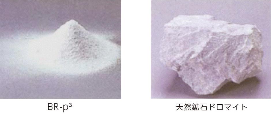 抗ウイルス素材BR-p³と天然鉱石ドロマイトの画像