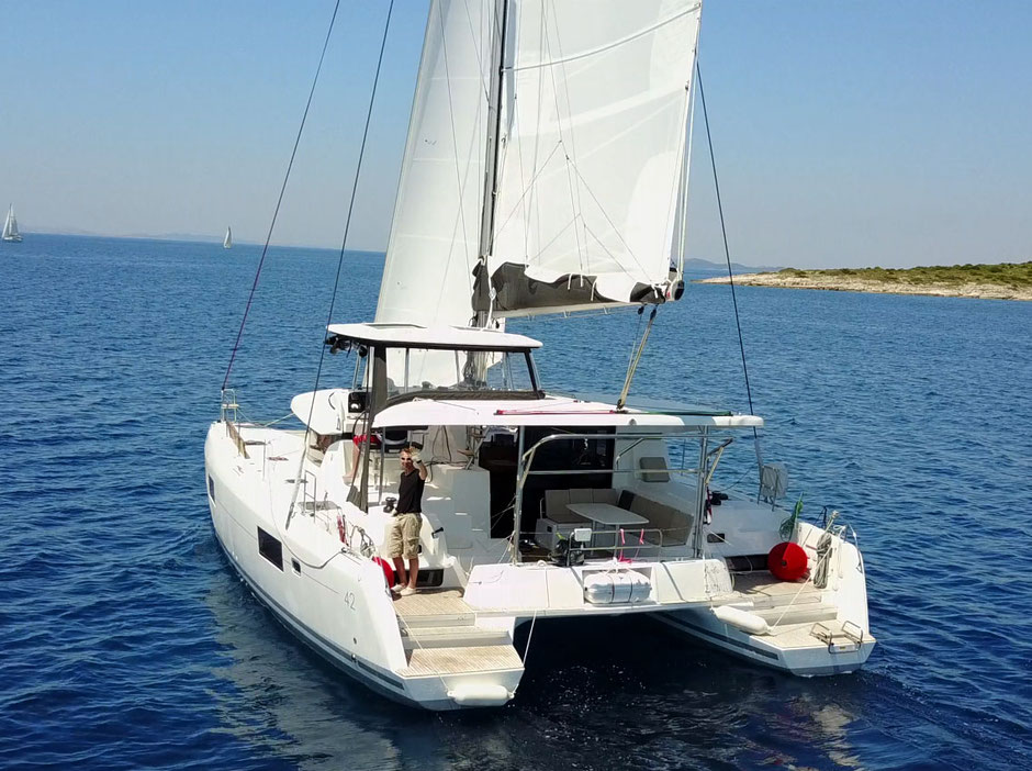 catamaran Lagoon 42, rent, charter, catamaran training, Sailing holiday, sailing vacation, online booking, offshore sailing, harbor maneuver training, catamaran docking training, yachtcharter croatia, yachtcharter Tenerife