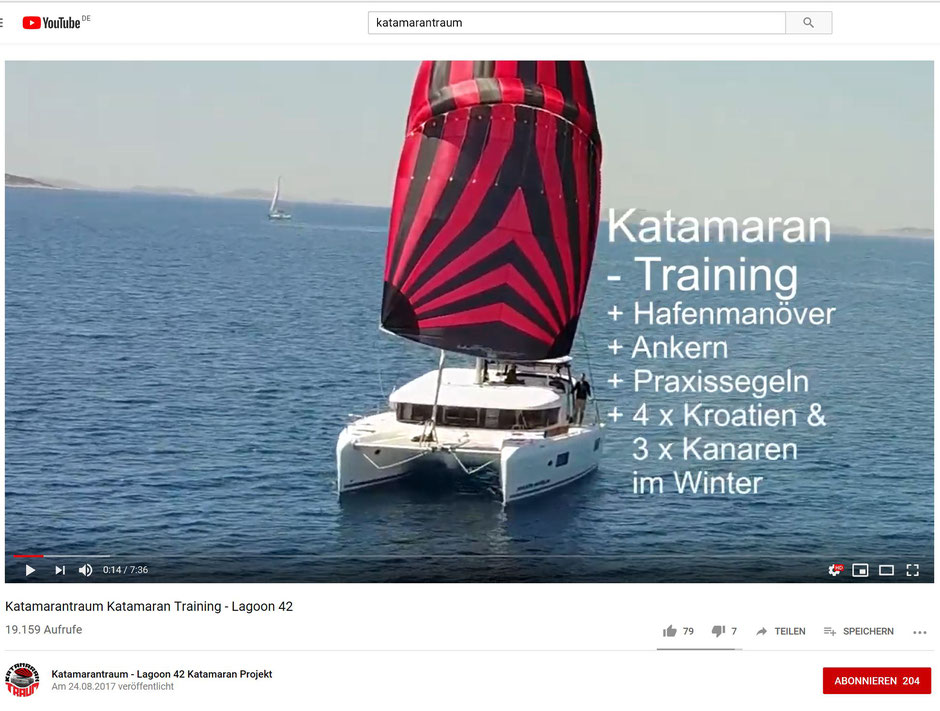 Katamaran, Youtubevideo katamarantraining, Katamaran Lagoon 42, Katamanrantraining, Hafentraining, Hafen Manöver Training, Katamaran Manövertraining, skipper Training Katamaran