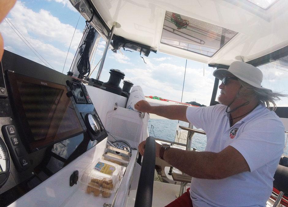 katamaran charter skippertraining hochsee lagoon 42 katamarantraining mitsegeln seemeilen kanaran kroatien seemeilennachweiss