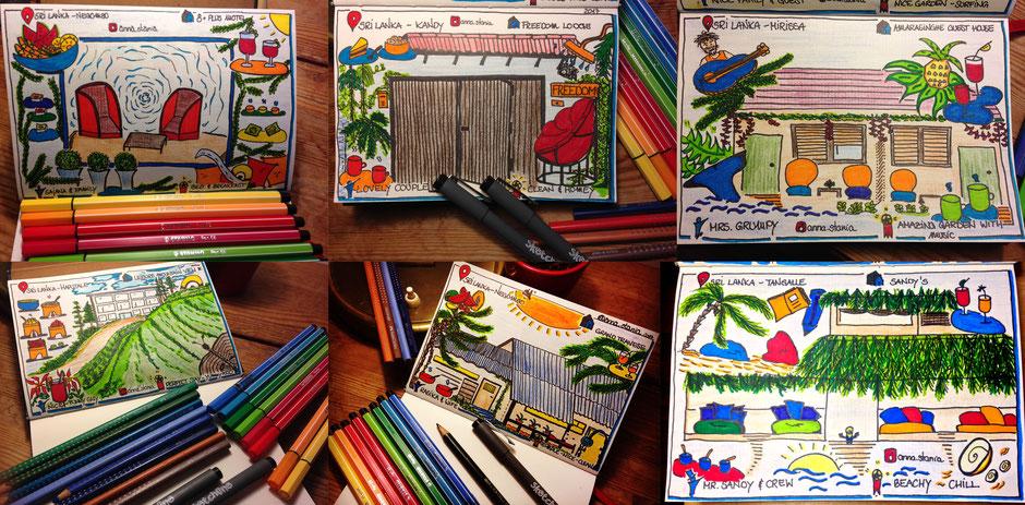 Sri Lanka - Accommodations in sketchnotes Travelbees