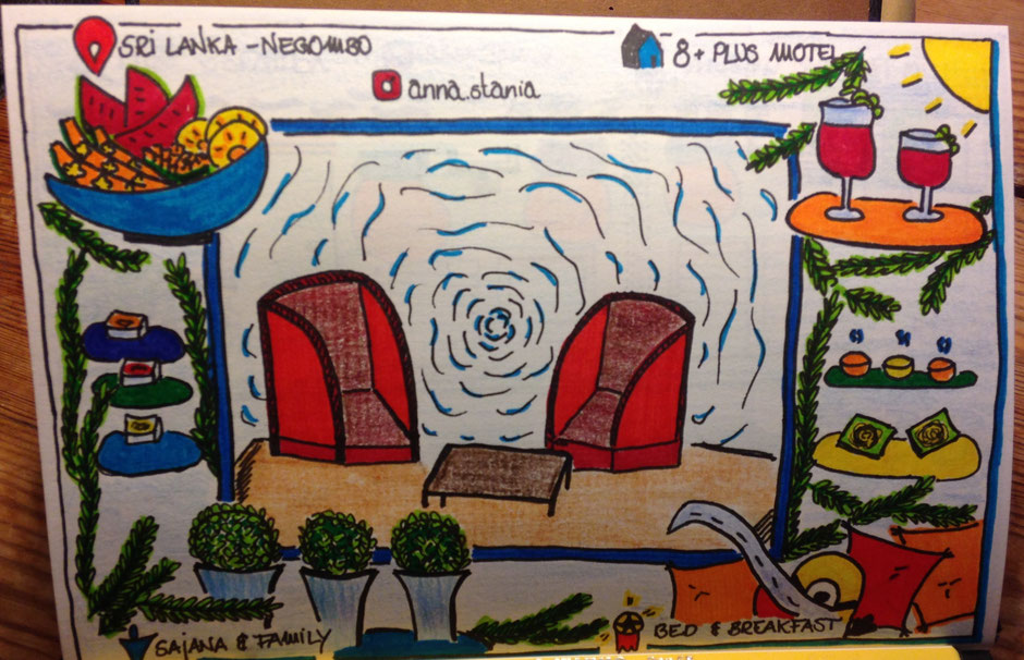 Sri Lanka - Negombo - 8+Plus Motel - Sketchnote - Travelbees