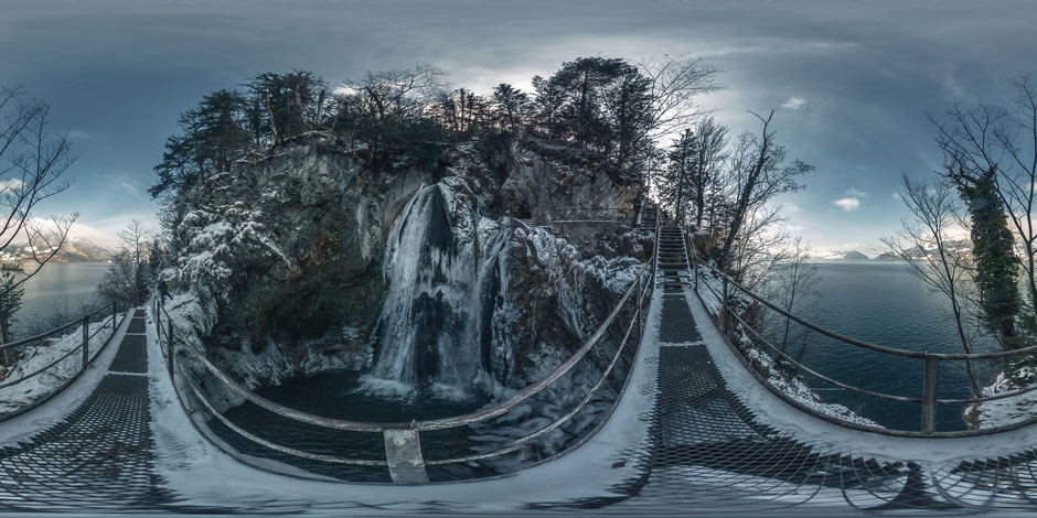 """click for 360° view """"Risleten waterfall"""" Beckenried, NW"""
