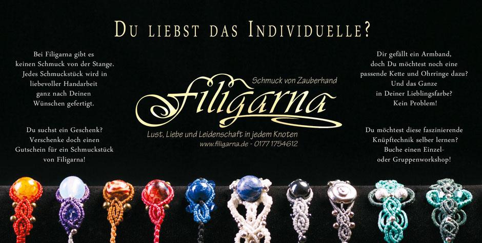 Du liebst das Individuelle? Schmuck von Zauberhand von Filigarna aus Erlangen individuell für dich handgemacht
