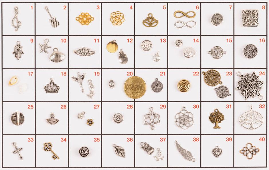 Eine Auswahl möglicher Anhänger Gold, Silber, Messing, Kupfer für dein persönliches Filigarna Schmuckstück aus Erlangen