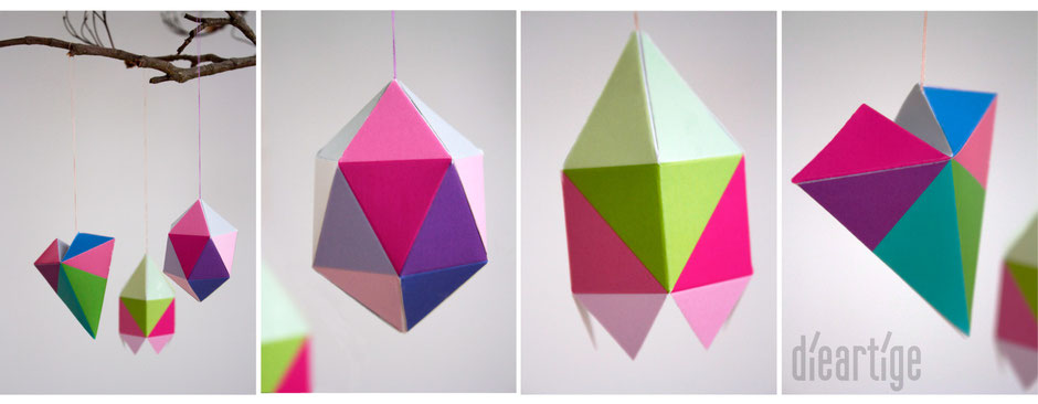 dieartigeBLOG, Postkarten, Frühling, bunt, Geometrisch, 3D, Papier, paperdecoration, Dekoration, Raumgestaltung