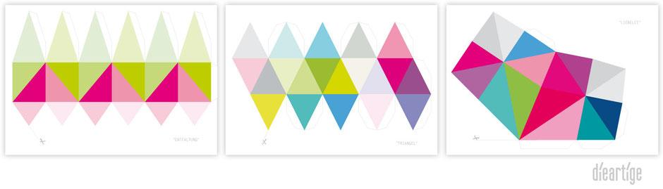 dieartigeBLOG, Postkarten, Frühling, bunt, Geometrisch, 3D, Papier, paperdecoration, Dekoration