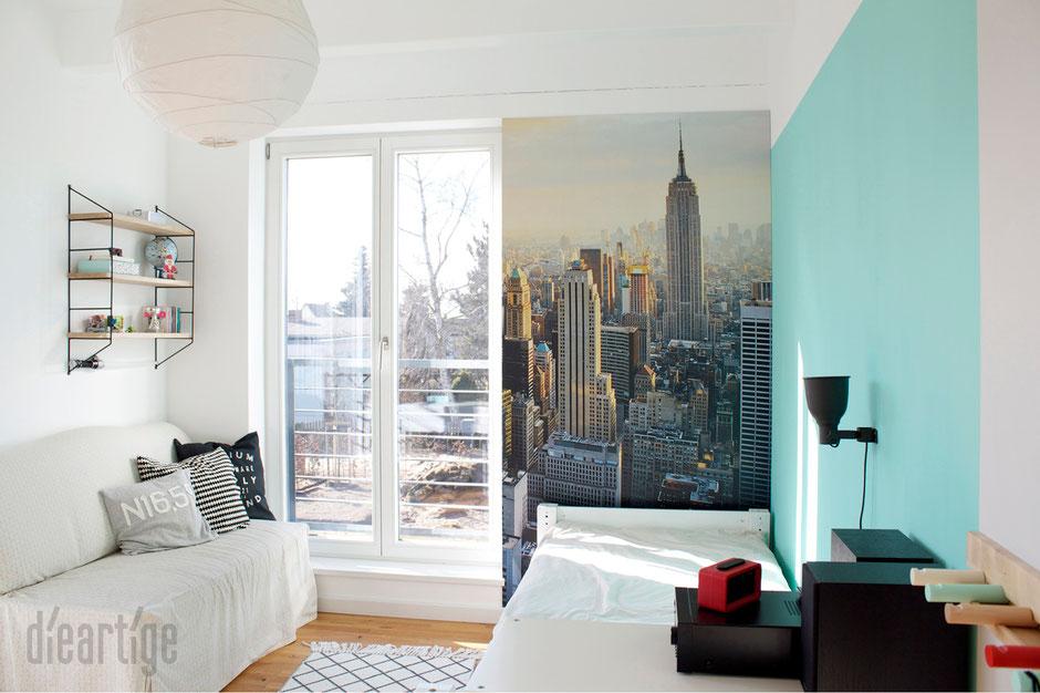 dieartigeBLOG - Kinderzimmer Upgrade | Jugend-Jungen-Zimmer in Mint, Hellgrau, Weiß mit New-York-Fototapete