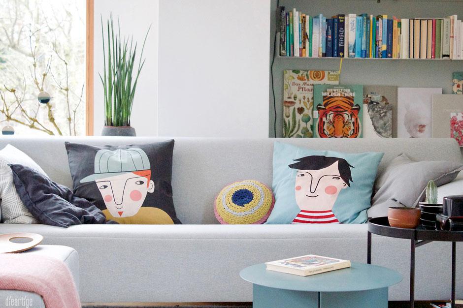 dieartigeBLOG - Wohnzimmer; neue Kissen von Spira of Sweden