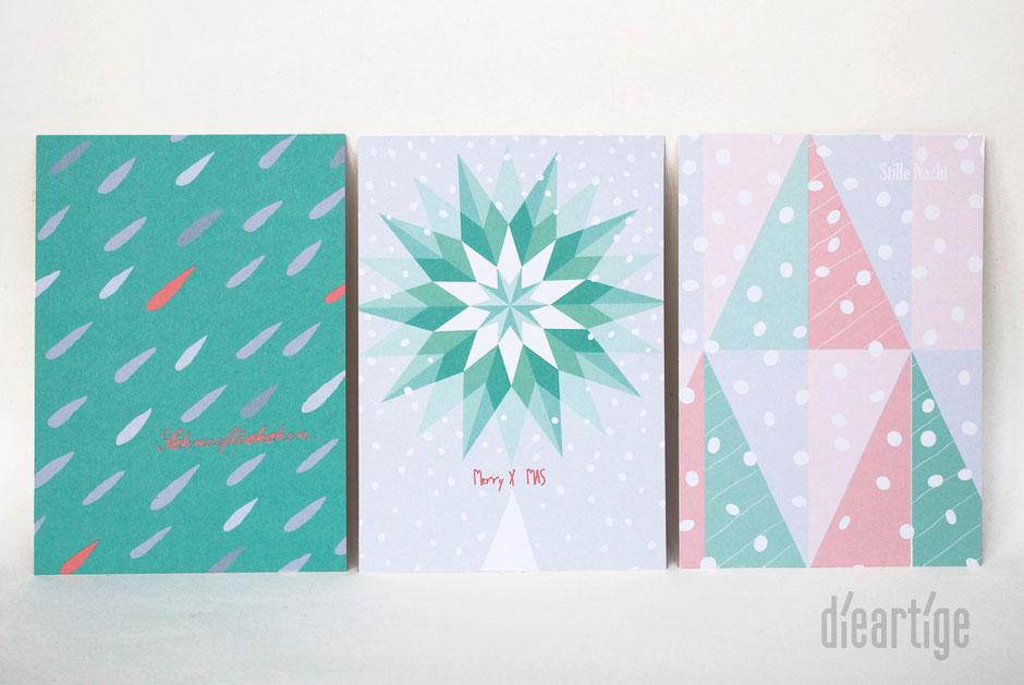 dieartigeBLOG - Weihnachtskarten // Christmas Edition 2015 // Schneeflöckchen..