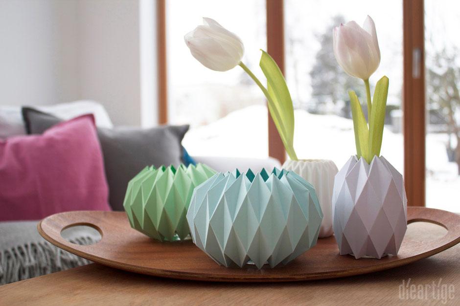 dieartigeBLOG, Origami Vase Teelicht, Holztablett, Asa, Tulpen