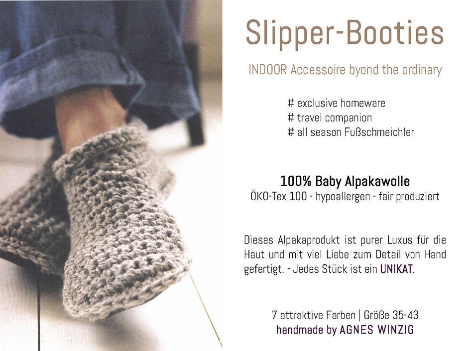 Alpaka-Slipper-Booties handmade aus 100% Baby Alpaka