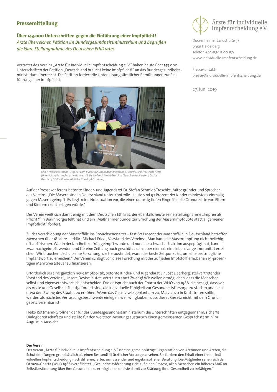 Bundesministerium für Gesundheit Masern Impfpflicht Petition