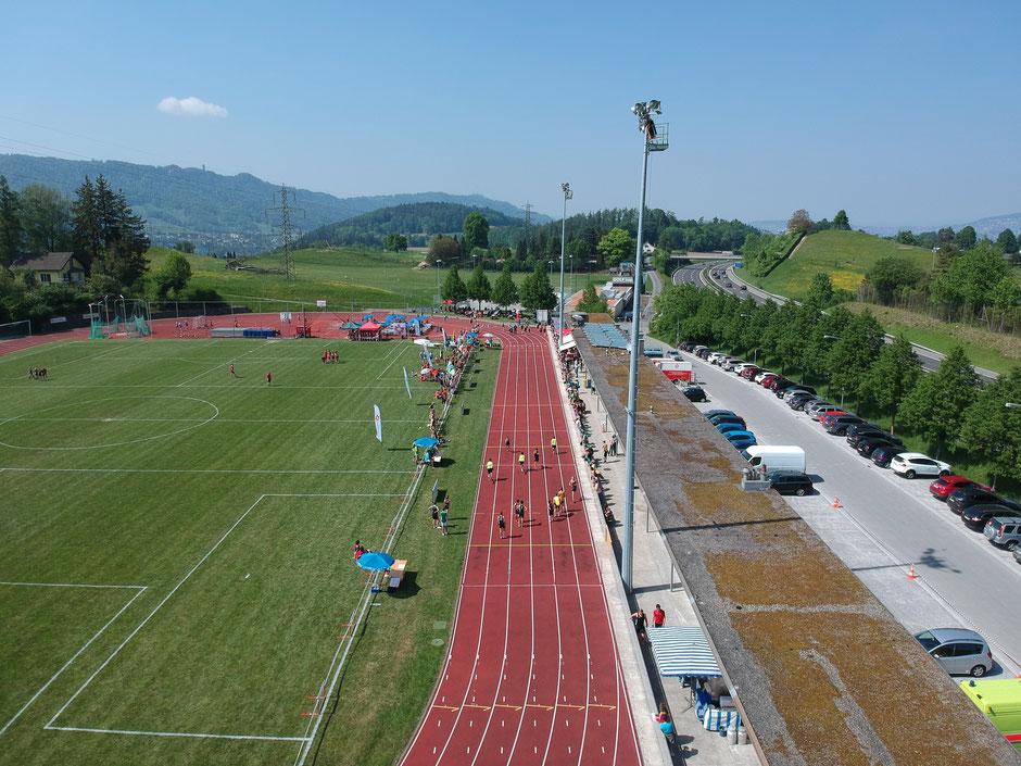 Drohnenaufnahme Brand Pendelstafette Schweizer Meisterschaft 2018