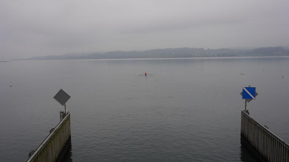 Allein Skullen am weiten See ist wie Radeln auf weiten Straßen ...