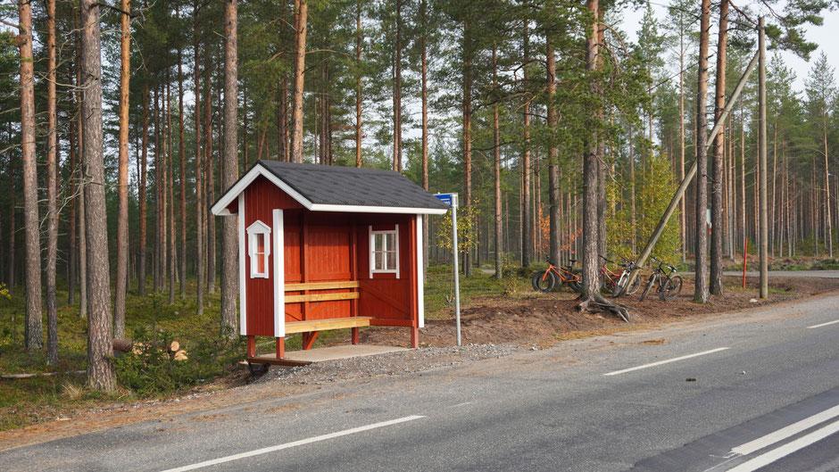 Buswartehäuschen und Fahrradwaldparkplatz